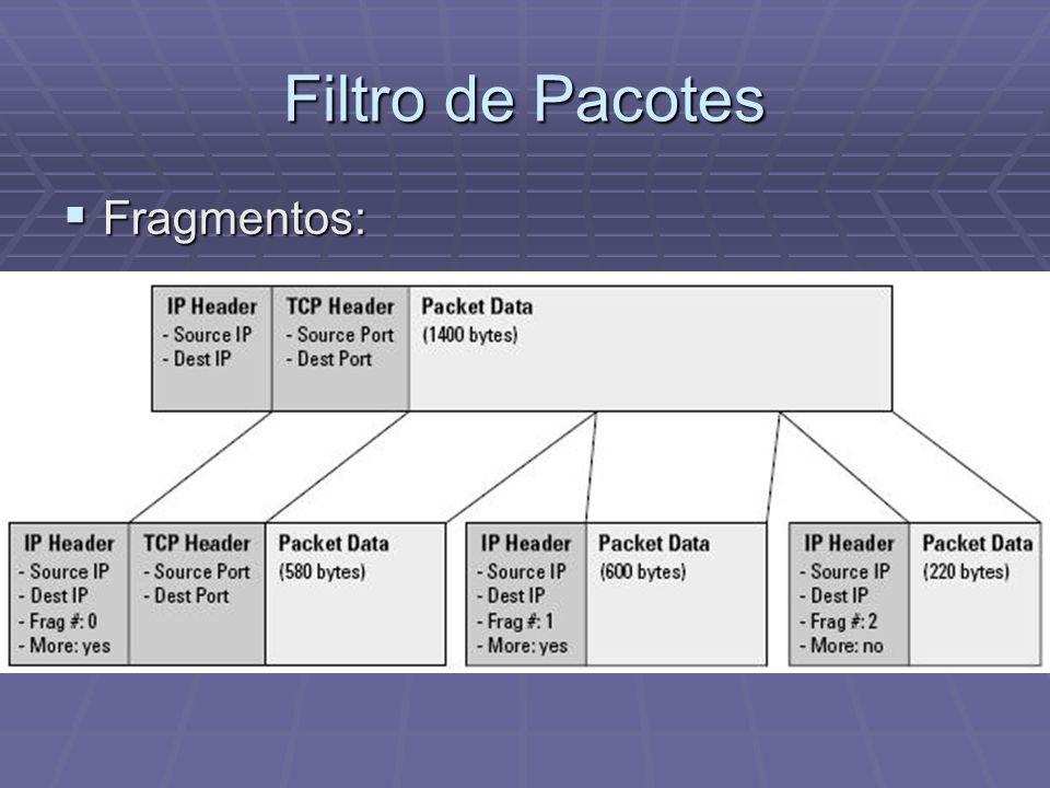 Filtro de Pacotes Fragmentos: Fragmentos: