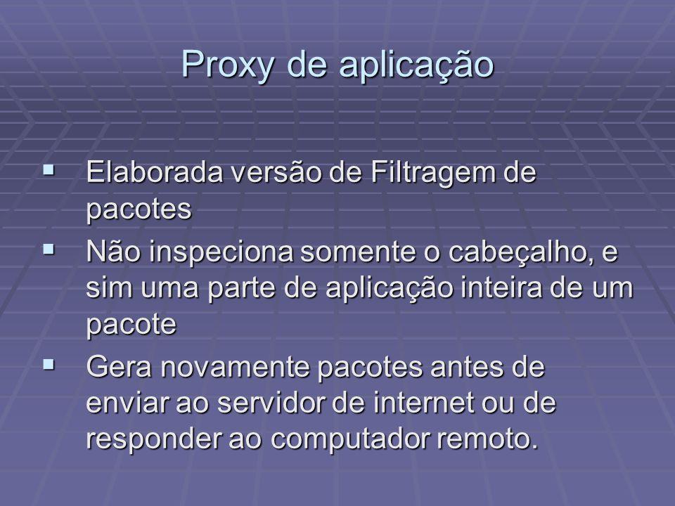 Proxy de aplicação Elaborada versão de Filtragem de pacotes Elaborada versão de Filtragem de pacotes Não inspeciona somente o cabeçalho, e sim uma par