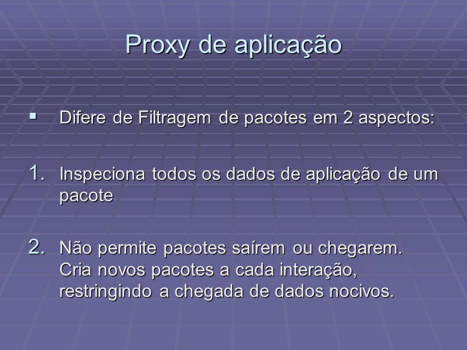 Proxy de aplicação Difere de Filtragem de pacotes em 2 aspectos: Difere de Filtragem de pacotes em 2 aspectos: 1. Inspeciona todos os dados de aplicaç