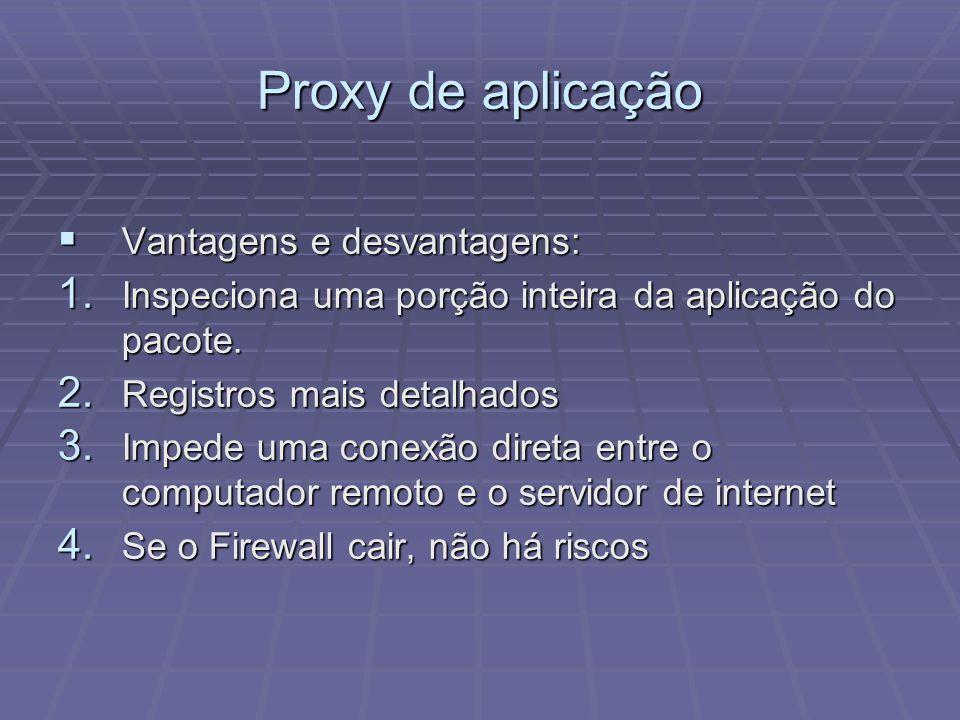Proxy de aplicação Vantagens e desvantagens: Vantagens e desvantagens: 1. Inspeciona uma porção inteira da aplicação do pacote. 2. Registros mais deta