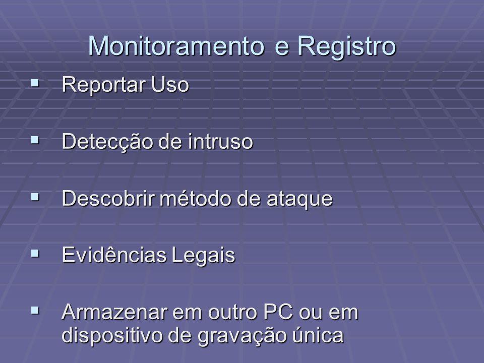 Monitoramento e Registro Reportar Uso Reportar Uso Detecção de intruso Detecção de intruso Descobrir método de ataque Descobrir método de ataque Evidê