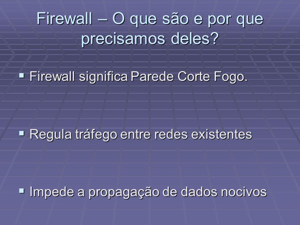 Firewall – O que são e por que precisamos deles? Firewall significa Parede Corte Fogo. Firewall significa Parede Corte Fogo. Regula tráfego entre rede