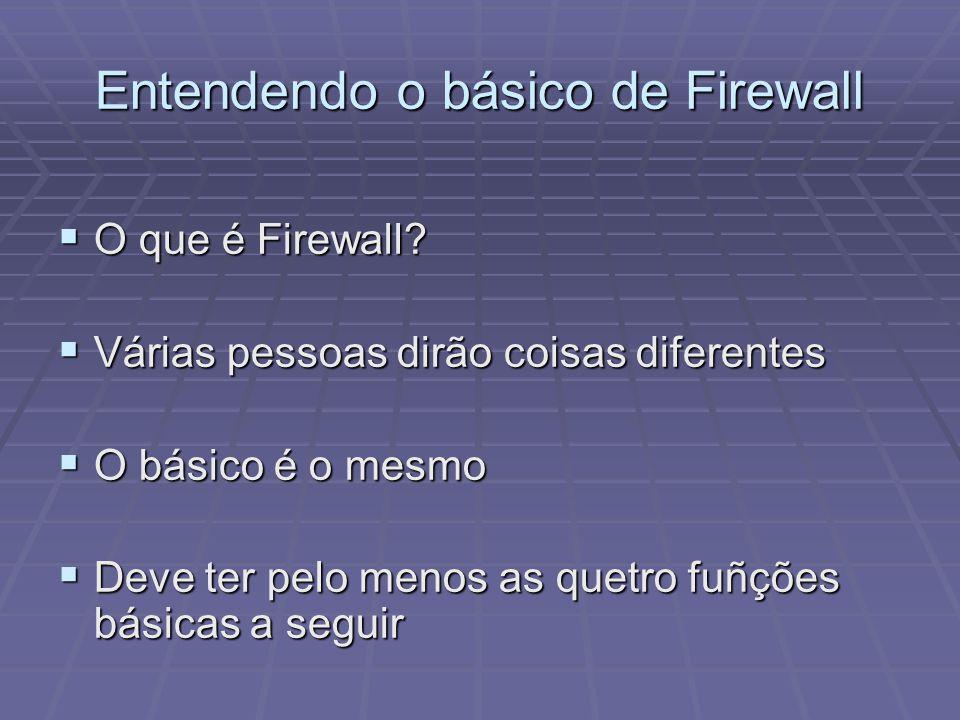 Entendendo o básico de Firewall O que é Firewall? O que é Firewall? Várias pessoas dirão coisas diferentes Várias pessoas dirão coisas diferentes O bá