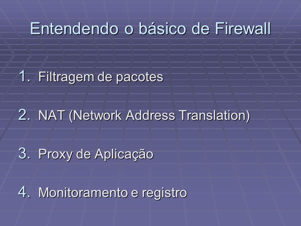 Entendendo o básico de Firewall 1. Filtragem de pacotes 2. NAT (Network Address Translation) 3. Proxy de Aplicação 4. Monitoramento e registro