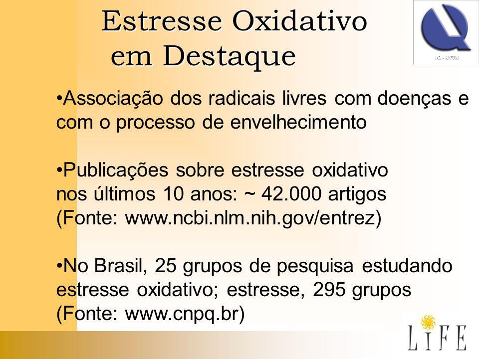 Estresse Oxidativo em Destaque em Destaque Associação dos radicais livres com doenças e com o processo de envelhecimento Publicações sobre estresse ox