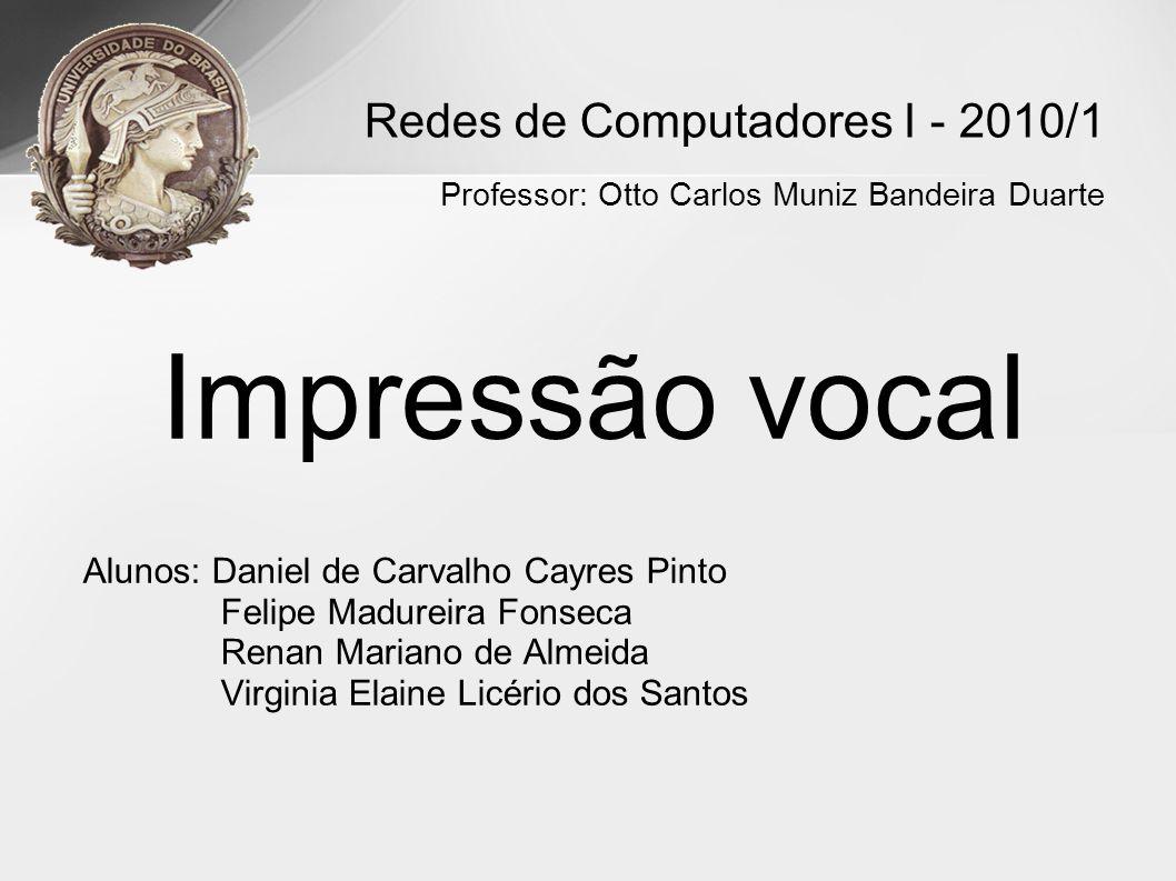 Impressão vocal Alunos: Daniel de Carvalho Cayres Pinto Felipe Madureira Fonseca Renan Mariano de Almeida Virginia Elaine Licério dos Santos Redes de