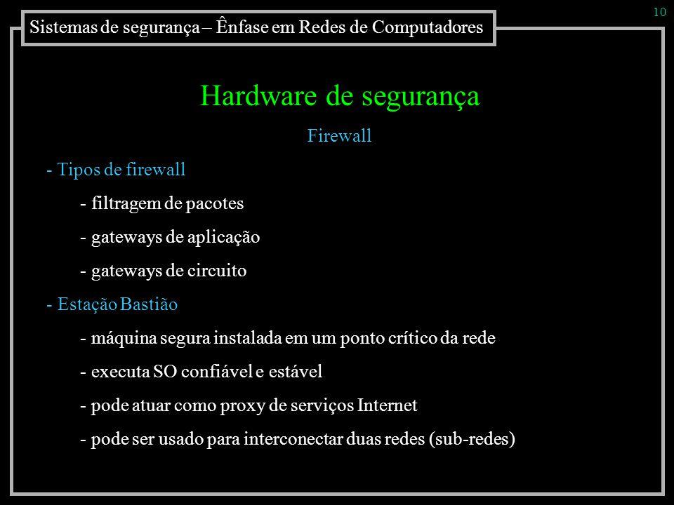 Sistemas de segurança – Ênfase em Redes de Computadores 10 Hardware de segurança Firewall - Tipos de firewall - filtragem de pacotes - gateways de apl