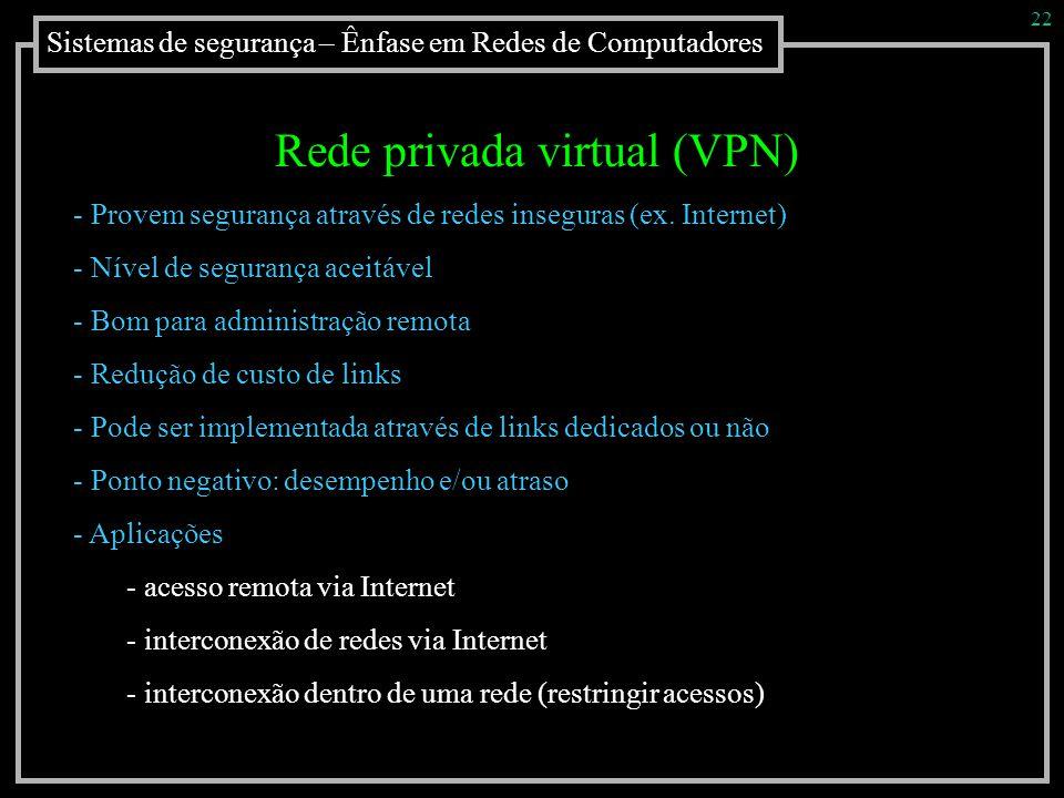 Sistemas de segurança – Ênfase em Redes de Computadores 22 Rede privada virtual (VPN) - Provem segurança através de redes inseguras (ex. Internet) - N