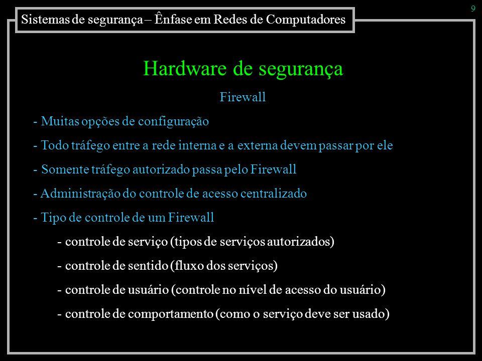 Sistemas de segurança – Ênfase em Redes de Computadores 9 Hardware de segurança Firewall - Muitas opções de configuração - Todo tráfego entre a rede i