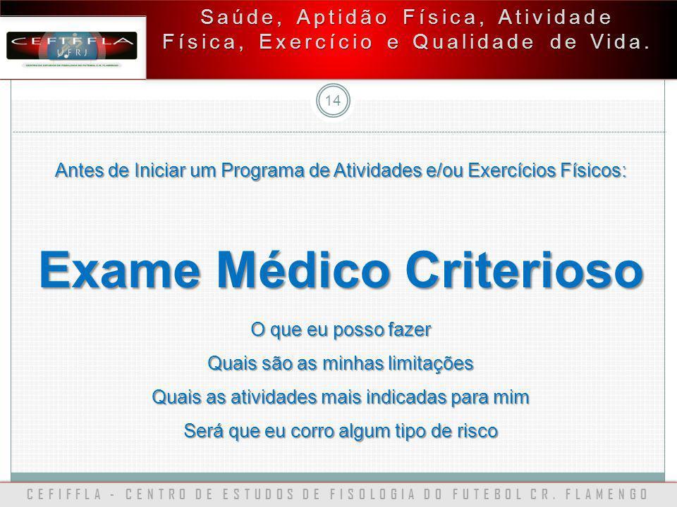 CEFIFFLA - CENTRO DE ESTUDOS DE FISOLOGIA DO FUTEBOL CR. FLAMENGO 14 Saúde, Aptidão Física, Atividade Física, Exercício e Qualidade de Vida. Antes de