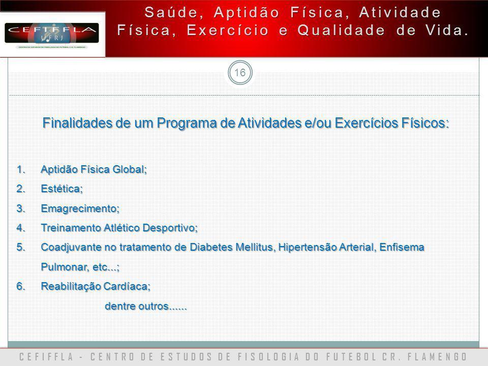 CEFIFFLA - CENTRO DE ESTUDOS DE FISOLOGIA DO FUTEBOL CR. FLAMENGO 16 Saúde, Aptidão Física, Atividade Física, Exercício e Qualidade de Vida. Finalidad