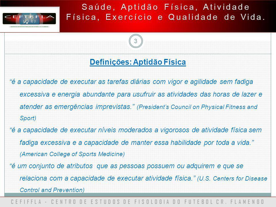 CEFIFFLA - CENTRO DE ESTUDOS DE FISOLOGIA DO FUTEBOL CR. FLAMENGO 3 Saúde, Aptidão Física, Atividade Física, Exercício e Qualidade de Vida. Definições