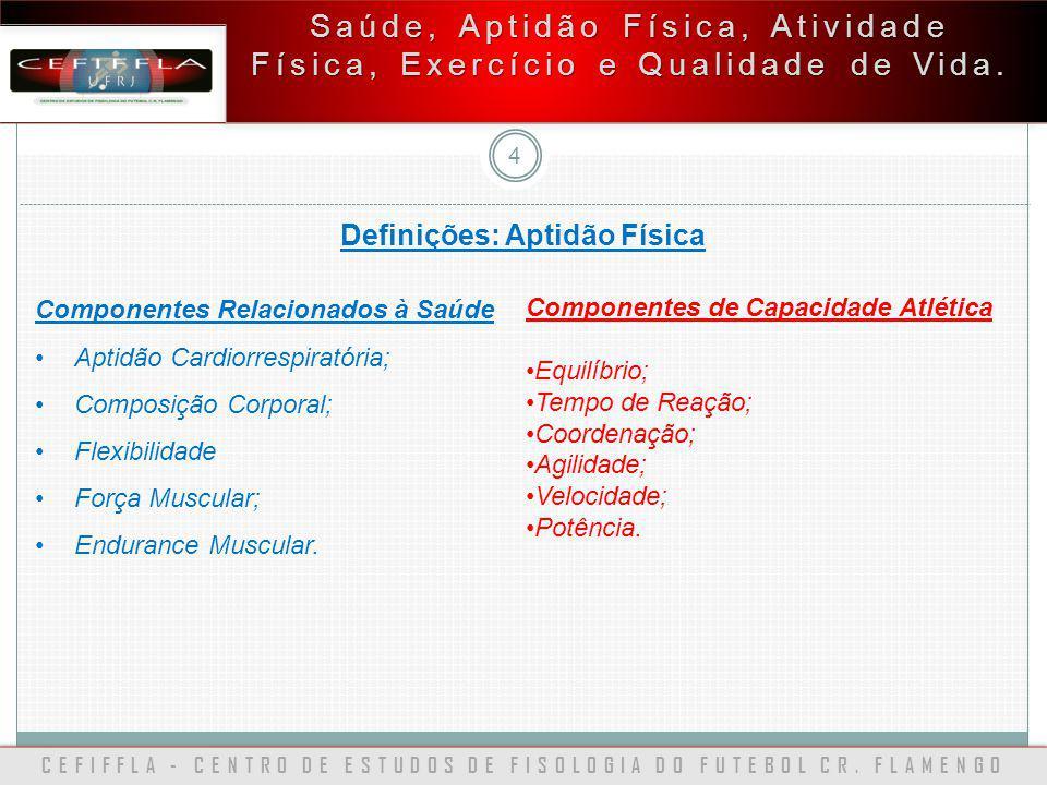 CEFIFFLA - CENTRO DE ESTUDOS DE FISOLOGIA DO FUTEBOL CR. FLAMENGO 4 Saúde, Aptidão Física, Atividade Física, Exercício e Qualidade de Vida. Definições