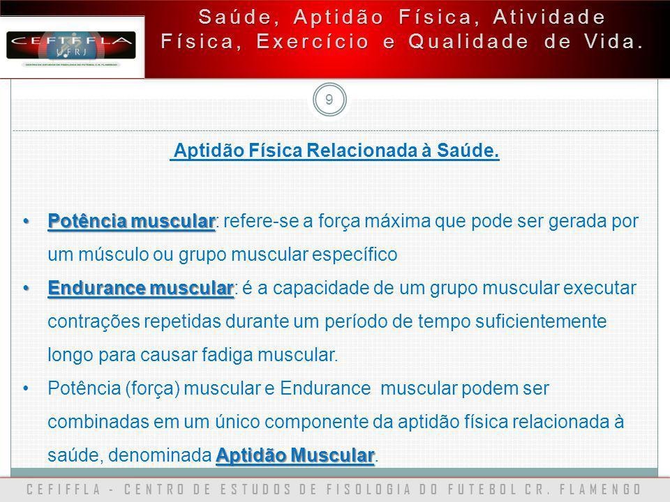 CEFIFFLA - CENTRO DE ESTUDOS DE FISOLOGIA DO FUTEBOL CR. FLAMENGO 9 Saúde, Aptidão Física, Atividade Física, Exercício e Qualidade de Vida. Aptidão Fí
