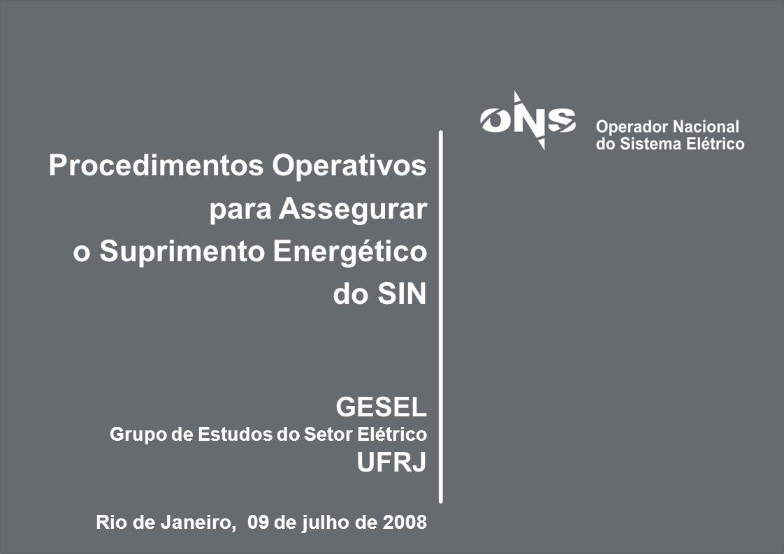 2 Sumário 1.Motivações 2.Procedimentos Operativos 3.Exercício de Aplicação para o PMO de Junho/08 4.Novos Desafios do ONS com Relação à Segurança