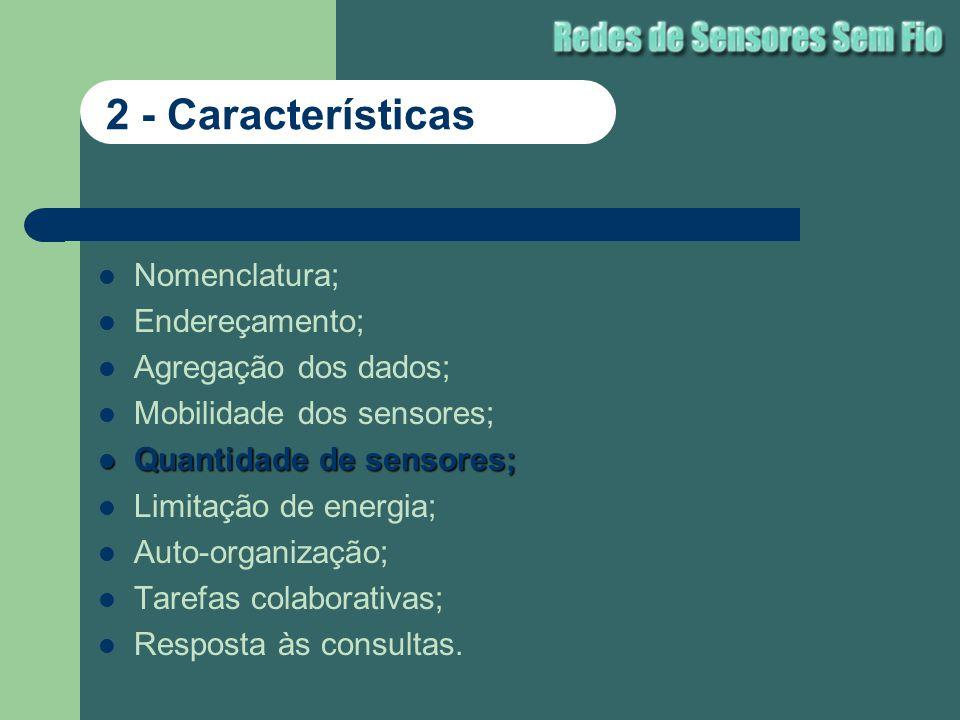 Nomenclatura; Endereçamento; Agregação dos dados; Mobilidade dos sensores; Quantidade de sensores; Quantidade de sensores; Limitação de energia; Auto-