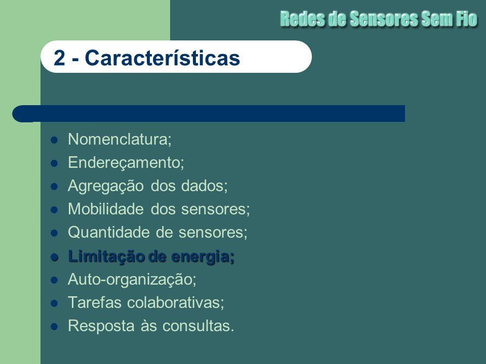 Nomenclatura; Endereçamento; Agregação dos dados; Mobilidade dos sensores; Quantidade de sensores; Limitação de energia; Limitação de energia; Auto-or