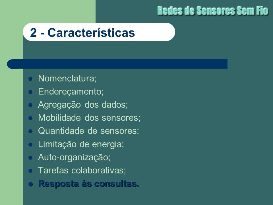 Nomenclatura; Endereçamento; Agregação dos dados; Mobilidade dos sensores; Quantidade de sensores; Limitação de energia; Auto-organização; Tarefas col