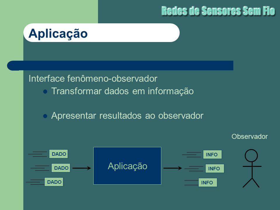 Interface fenômeno-observador Transformar dados em informação Apresentar resultados ao observador Aplicação DADO Aplicação INFO Observador