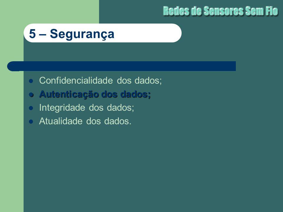 Confidencialidade dos dados; Autenticação dos dados; Autenticação dos dados; Integridade dos dados; Atualidade dos dados. 5 – Segurança
