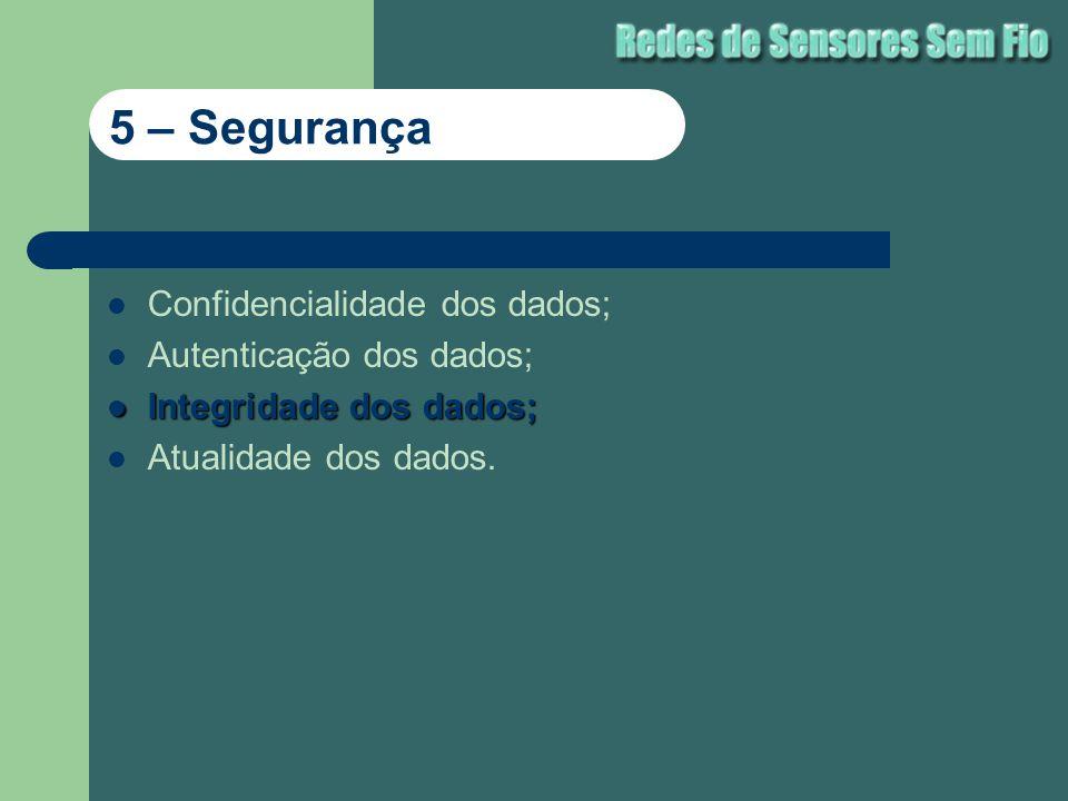Confidencialidade dos dados; Autenticação dos dados; Integridade dos dados; Integridade dos dados; Atualidade dos dados. 5 – Segurança