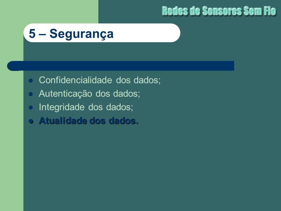 Confidencialidade dos dados; Autenticação dos dados; Integridade dos dados; Atualidade dos dados. Atualidade dos dados. 5 – Segurança
