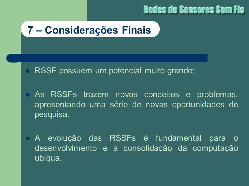 RSSF possuem um potencial muito grande; As RSSFs trazem novos conceitos e problemas, apresentando uma série de novas oportunidades de pesquisa. A evol