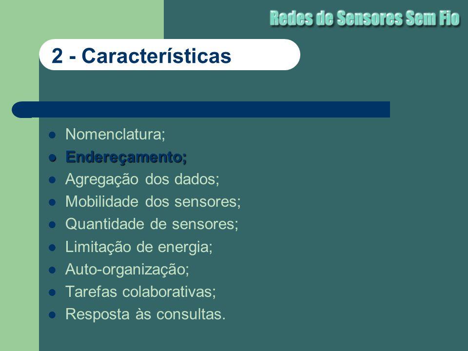 Nomenclatura; Endereçamento; Endereçamento; Agregação dos dados; Mobilidade dos sensores; Quantidade de sensores; Limitação de energia; Auto-organizaç