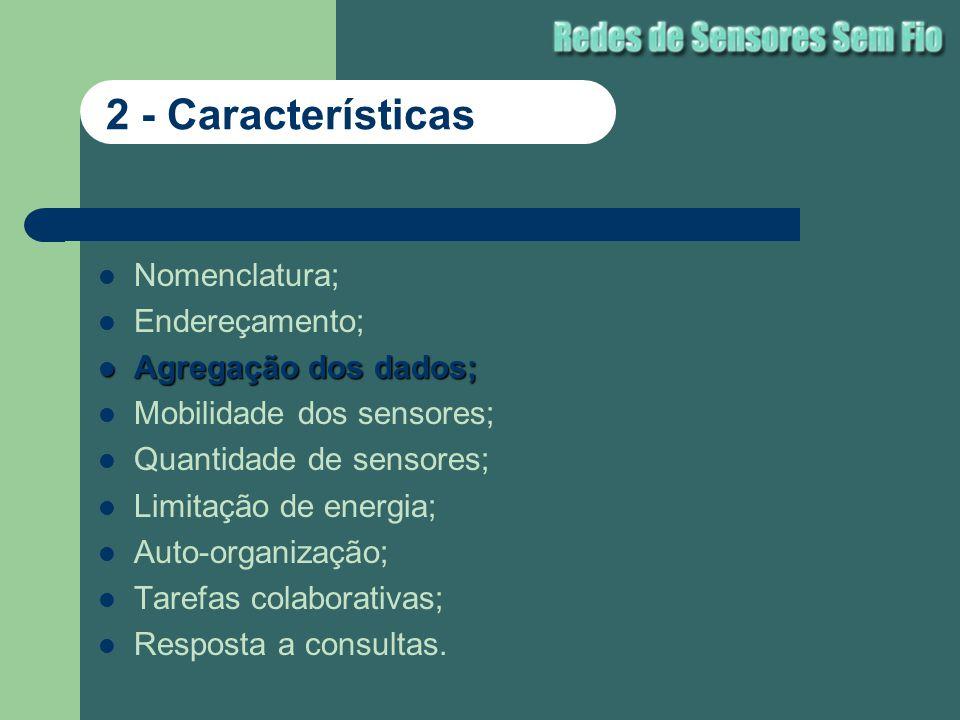 Nomenclatura; Endereçamento; Agregação dos dados; Agregação dos dados; Mobilidade dos sensores; Quantidade de sensores; Limitação de energia; Auto-org