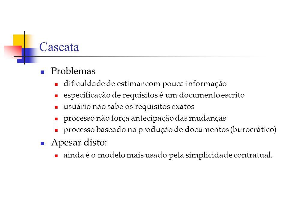 Cascata Problemas dificuldade de estimar com pouca informação especificação de requisitos é um documento escrito usuário não sabe os requisitos exatos