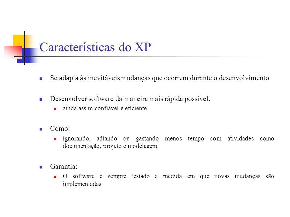 Características do XP Se adapta às inevitáveis mudanças que ocorrem durante o desenvolvimento Desenvolver software da maneira mais rápida possível: ai