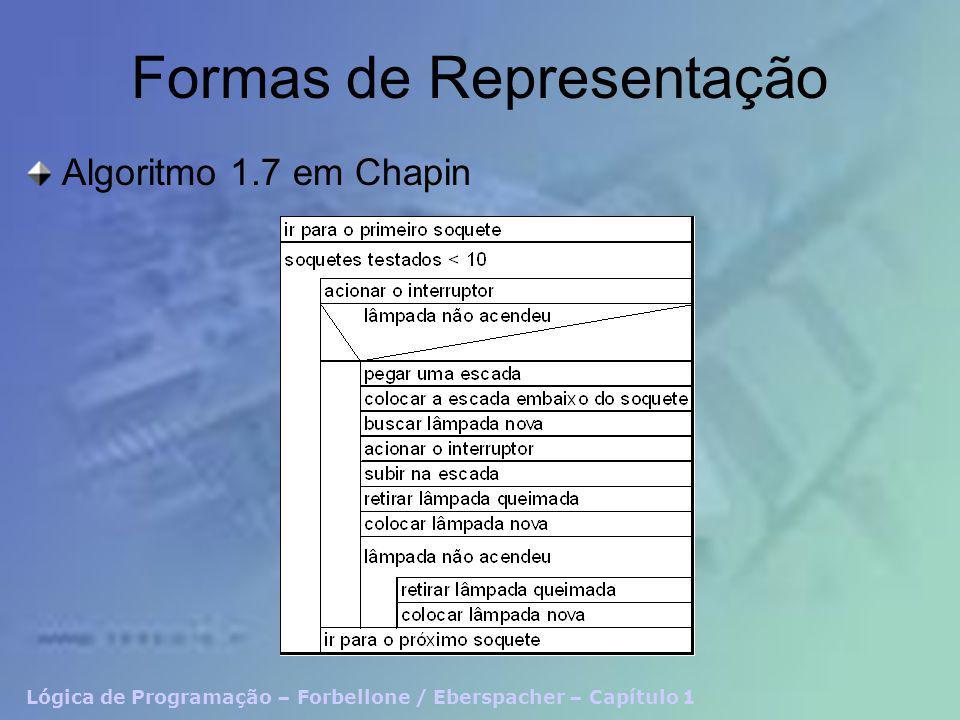 Lógica de Programação – Forbellone / Eberspacher – Capítulo 1 Formas de Representação Algoritmo 1.7 em Chapin