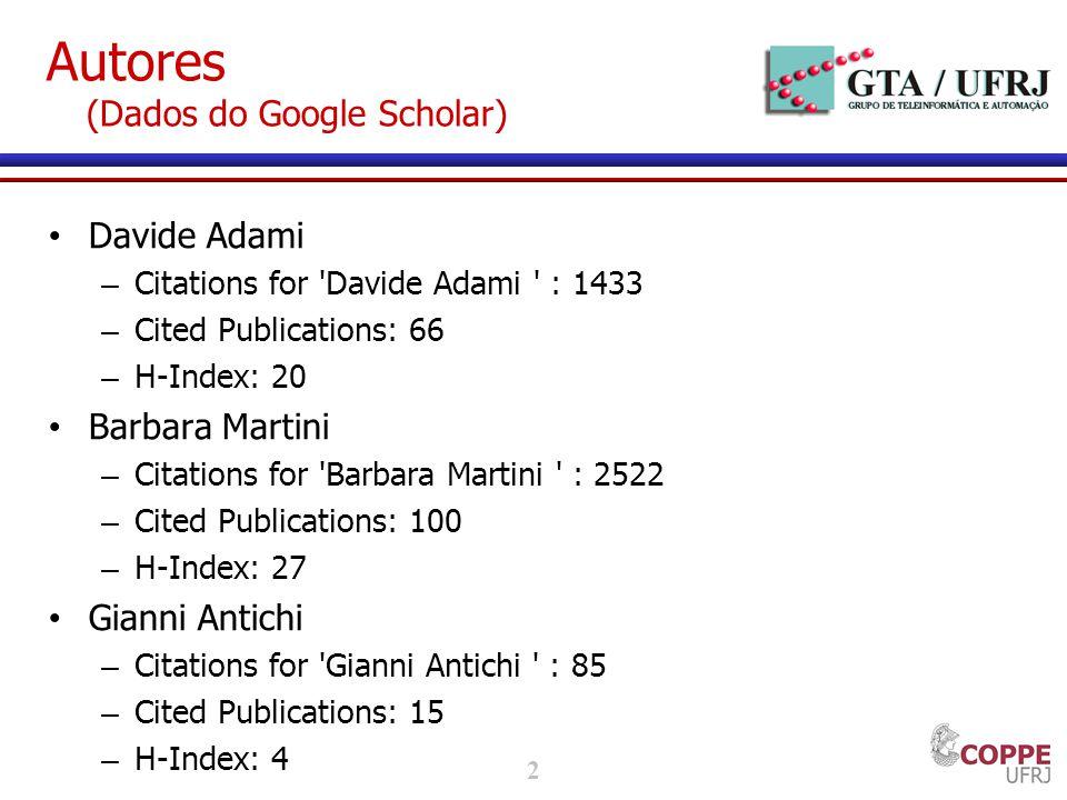 3 Autores (Dados do Google Scholar) Stefano Giordano – Citations for Stefano Giordano : 4178 – Cited Publications: 102 – H-Index: 31 Piero Castoldi – Citations for Piero Castoldi : 1998 – Cited Publications: 101 – H-Index: 16