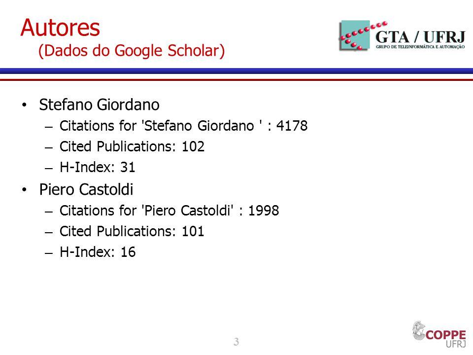 3 Autores (Dados do Google Scholar) Stefano Giordano – Citations for 'Stefano Giordano ' : 4178 – Cited Publications: 102 – H-Index: 31 Piero Castoldi