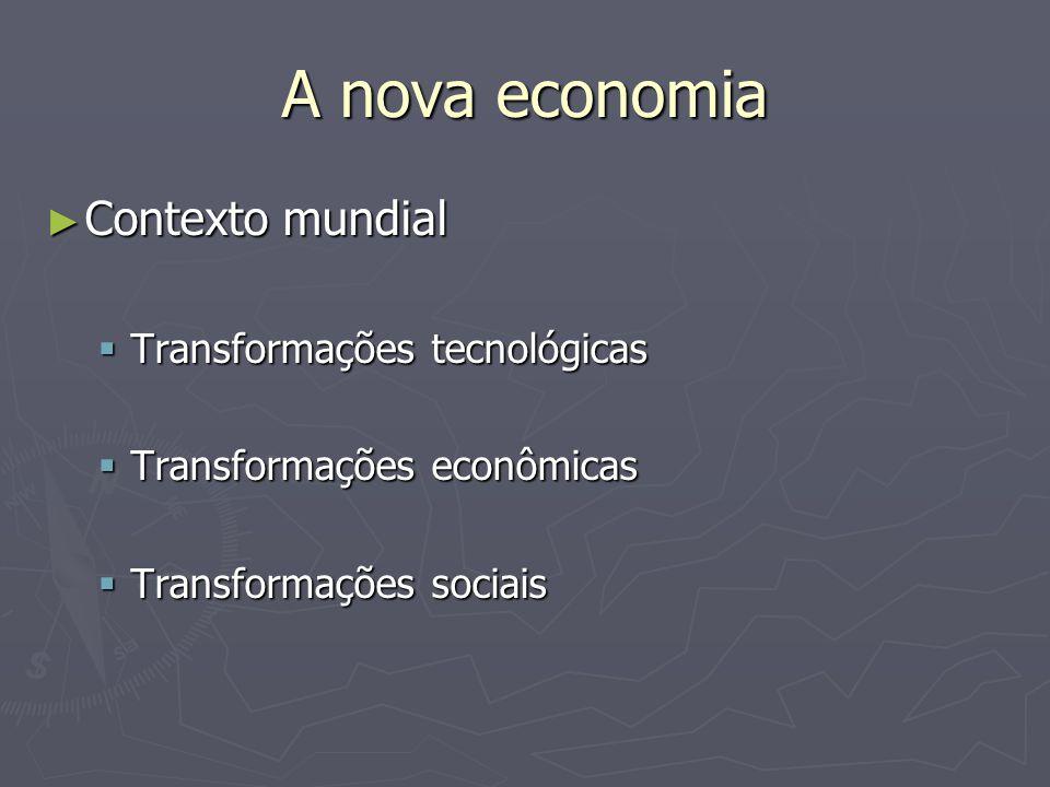 A nova economia Contexto mundial Contexto mundial Transformações tecnológicas Transformações tecnológicas Transformações econômicas Transformações econômicas Transformações sociais Transformações sociais