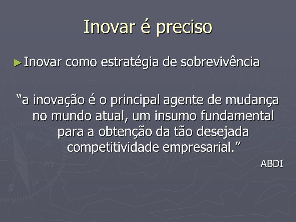 Inovar é preciso Inovar como estratégia de sobrevivência Inovar como estratégia de sobrevivência a inovação é o principal agente de mudança no mundo atual, um insumo fundamental para a obtenção da tão desejada competitividade empresarial.