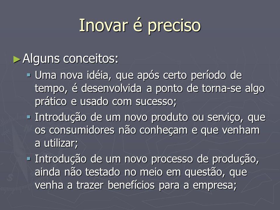 Inovar é preciso Alguns conceitos: Alguns conceitos: Uma nova idéia, que após certo período de tempo, é desenvolvida a ponto de torna-se algo prático e usado com sucesso; Uma nova idéia, que após certo período de tempo, é desenvolvida a ponto de torna-se algo prático e usado com sucesso; Introdução de um novo produto ou serviço, que os consumidores não conheçam e que venham a utilizar; Introdução de um novo produto ou serviço, que os consumidores não conheçam e que venham a utilizar; Introdução de um novo processo de produção, ainda não testado no meio em questão, que venha a trazer benefícios para a empresa; Introdução de um novo processo de produção, ainda não testado no meio em questão, que venha a trazer benefícios para a empresa;