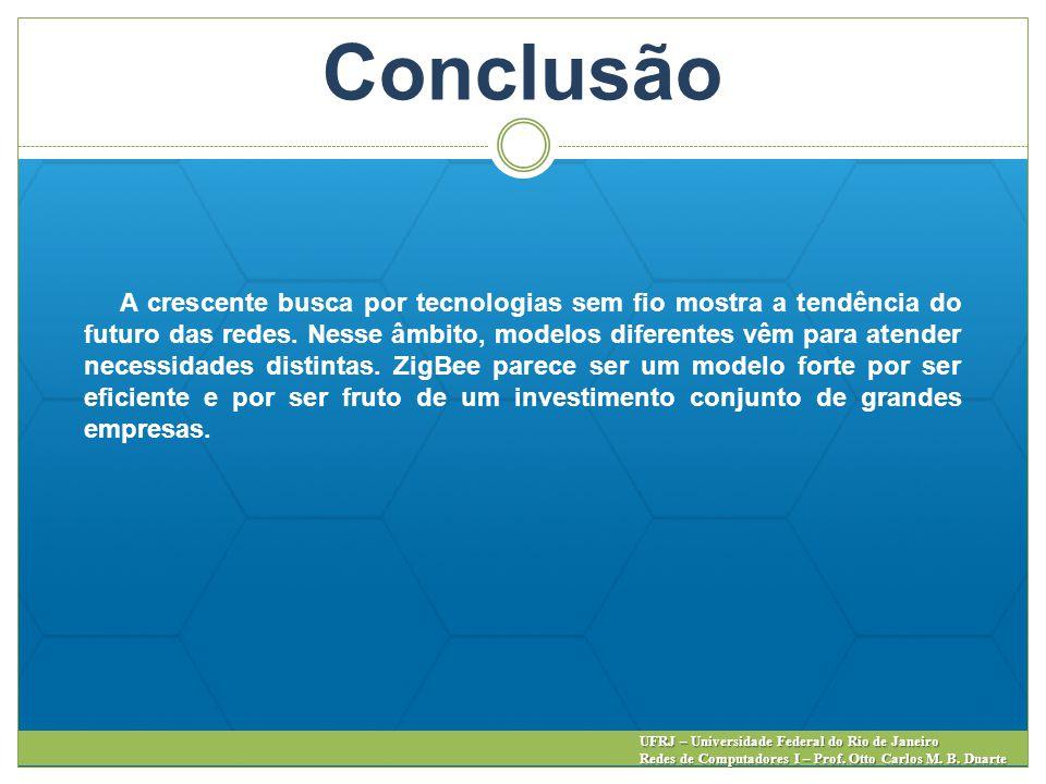 Conclusão UFRJ – Universidade Federal do Rio de Janeiro Redes de Computadores I – Prof. Otto Carlos M. B. Duarte A crescente busca por tecnologias sem