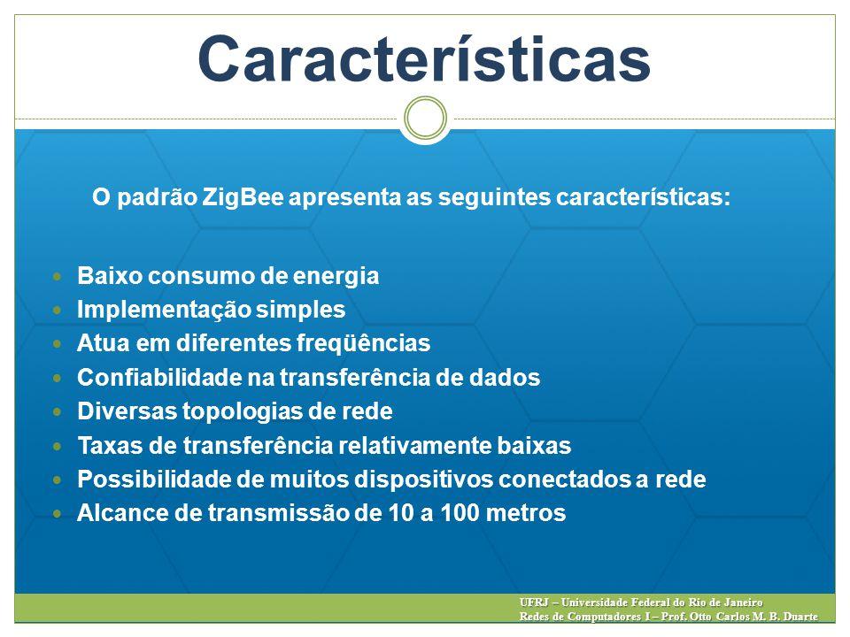Características O padrão ZigBee apresenta as seguintes características: Baixo consumo de energia Implementação simples Atua em diferentes freqüências