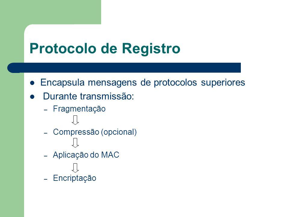Protocolo de Registro Encapsula mensagens de protocolos superiores Durante transmissão: – Fragmentação – Compressão (opcional) – Aplicação do MAC – En