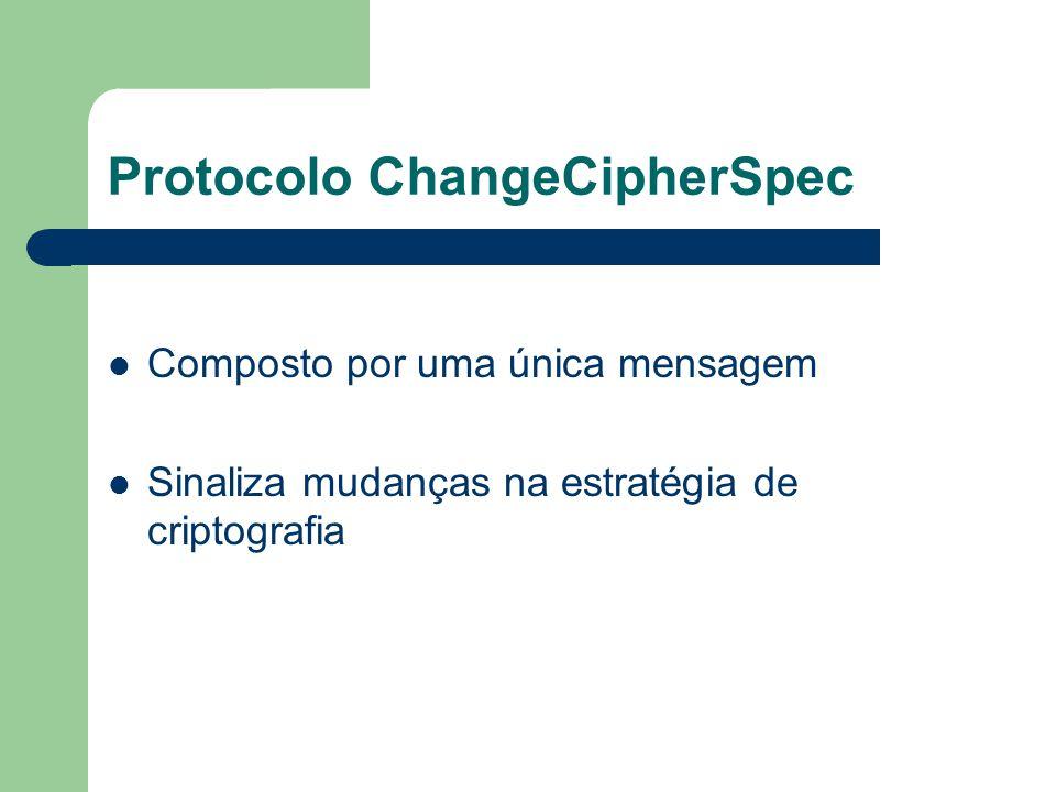 Protocolo ChangeCipherSpec Composto por uma única mensagem Sinaliza mudanças na estratégia de criptografia