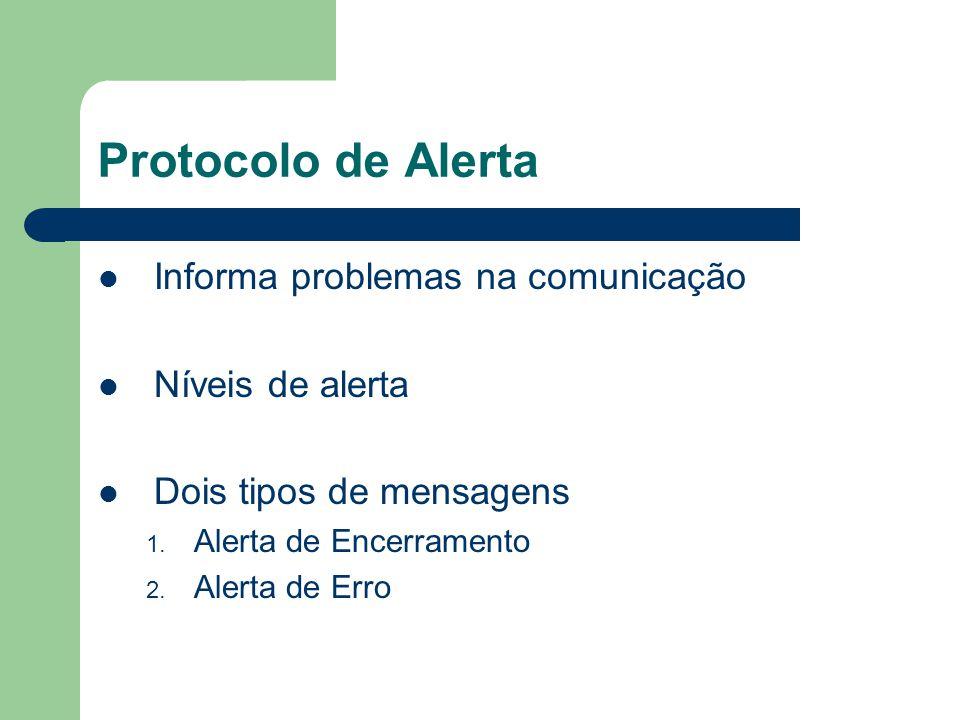 Protocolo de Alerta Informa problemas na comunicação Níveis de alerta Dois tipos de mensagens 1. Alerta de Encerramento 2. Alerta de Erro