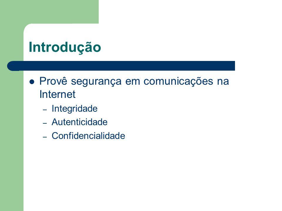 Introdução Provê segurança em comunicações na Internet – Integridade – Autenticidade – Confidencialidade