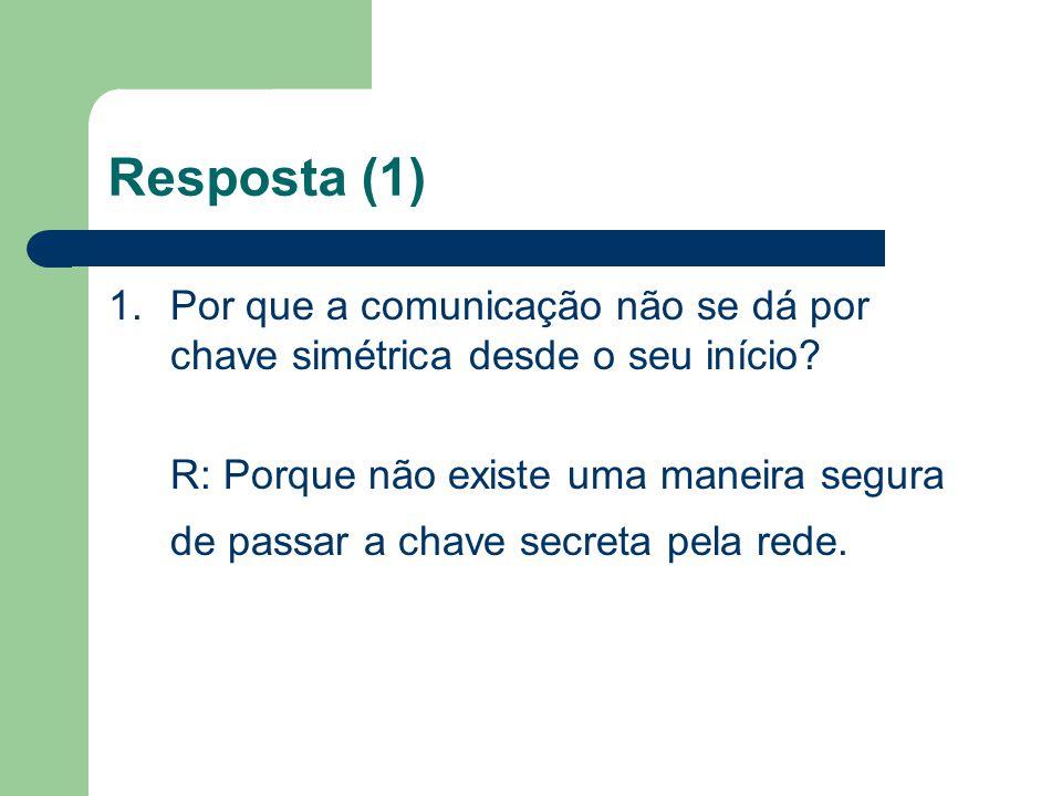 Resposta (1) 1.Por que a comunicação não se dá por chave simétrica desde o seu início? R: Porque não existe uma maneira segura de passar a chave secre