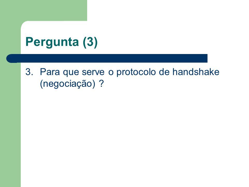 Pergunta (3) 3.Para que serve o protocolo de handshake (negociação) ?
