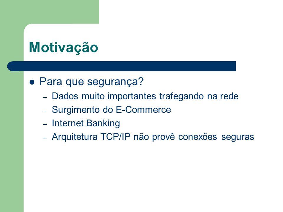 Motivação Para que segurança? – Dados muito importantes trafegando na rede – Surgimento do E-Commerce – Internet Banking – Arquitetura TCP/IP não prov