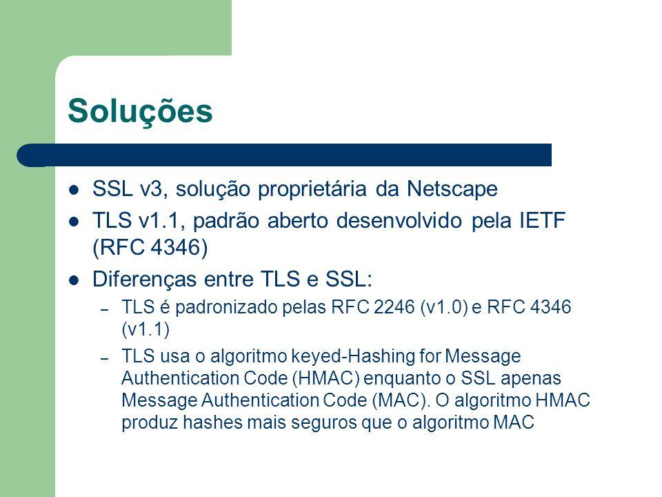 Soluções SSL v3, solução proprietária da Netscape TLS v1.1, padrão aberto desenvolvido pela IETF (RFC 4346) Diferenças entre TLS e SSL: – TLS é padron
