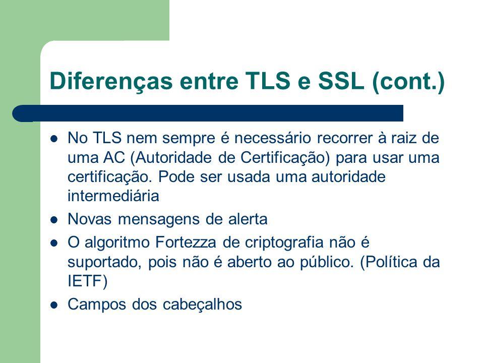Diferenças entre TLS e SSL (cont.) No TLS nem sempre é necessário recorrer à raiz de uma AC (Autoridade de Certificação) para usar uma certificação. P