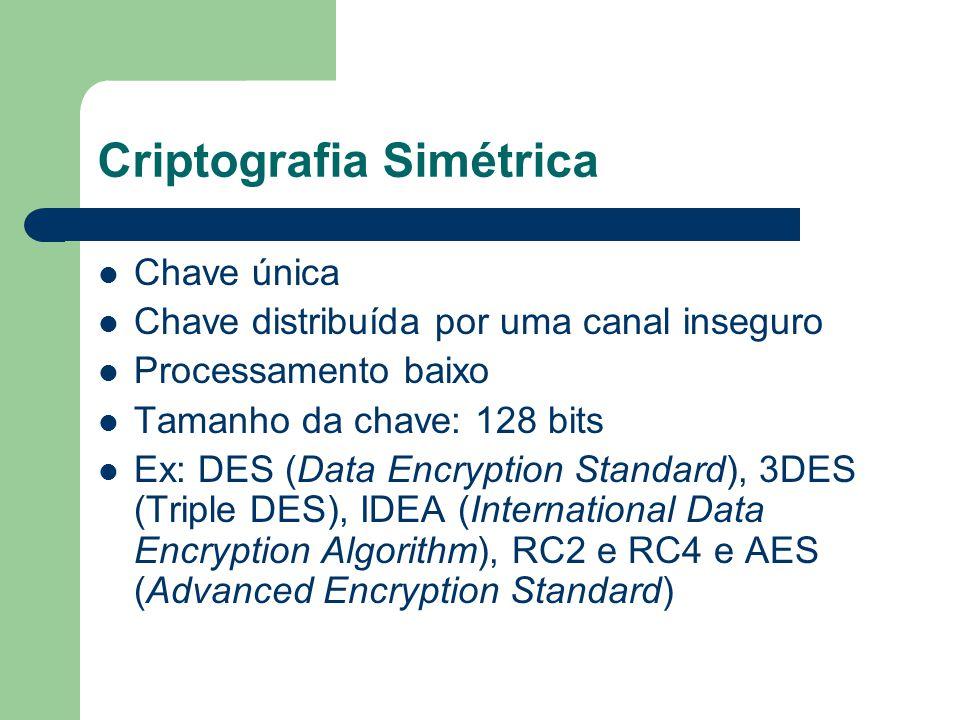 Criptografia Simétrica Chave única Chave distribuída por uma canal inseguro Processamento baixo Tamanho da chave: 128 bits Ex: DES (Data Encryption St