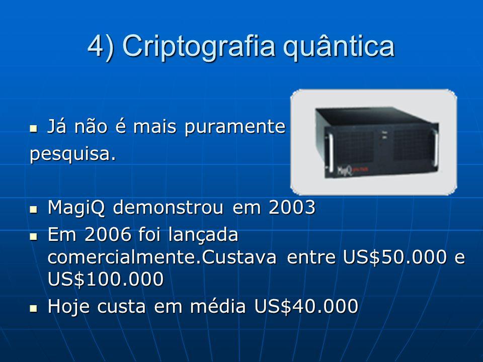 4) Criptografia quântica Já não é mais puramente Já não é mais puramentepesquisa. MagiQ demonstrou em 2003 MagiQ demonstrou em 2003 Em 2006 foi lançad